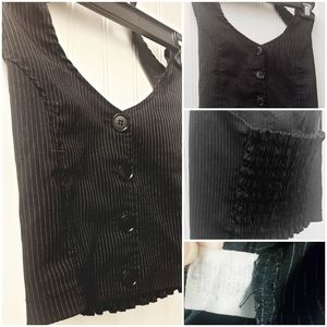 Black Pinstripe Crop Halter
